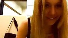 Blondie have some fun in fast food restroom!