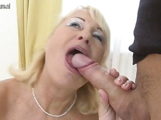 Hot granny gets fucked by her young boy