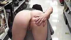Slut wife spreading ass in a crowded store