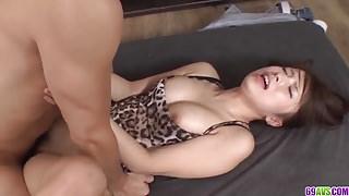 Slim Hinata Tachibana takes two cocks for a wild spin