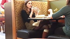 Spying on hot teen with legs in restaurant