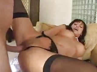 MILF in black stocking gets her holes stuffed