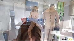 Sexy tattooed shemale fucked by white guy