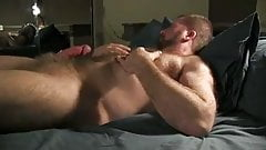 Horny hairy daddy covers himself in cum