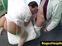 Doctor fucks amateur euro nurse doggystyle