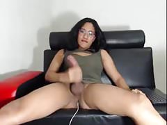 Huge dick solo shemale cums on webcam