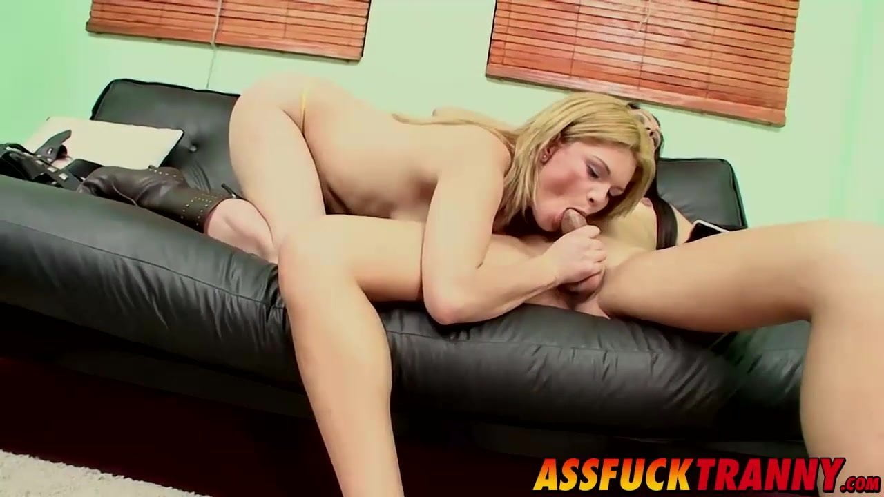 Sexy brunette tranny having hot sex with cute blonde female