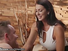 SweetSinner Busty Cougar Reagan has Passion with Young Lover's Thumb