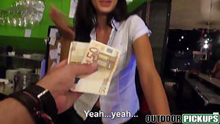 Slutty waitress Alexa Tomas fucks in her own bar for cash