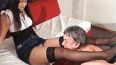 A younger black chick makes an older guy worship her part 1