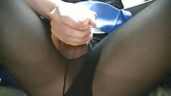 Sexy CD wanks cock uses toys and cums