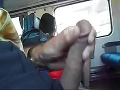 Train flasher beside two women