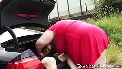 BBW granny likes sucking studs sweet cock outdoors