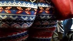 Bbw Ebony Ass in pattern leggings