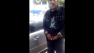 Caught - Bearded daddy pissing on the street (cut cock)
