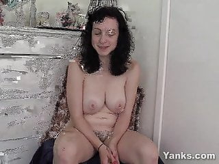 Busty Brunette Dixon Toys Her Hairy Snatch