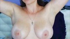 Big natural boobs milf cream massage