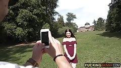 Skinny teen loves getting selfies and fucked by random guy