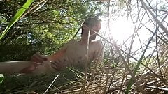 Outdoor stroke, naked at a nature reserve