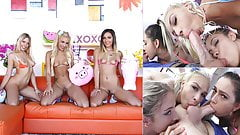 Three blonde girls with one big dick equals good times