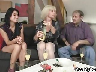 He finds her fucking with old parents