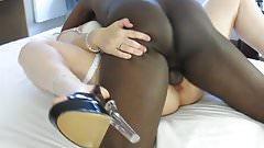Black dude cumming in white pussy