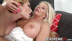 Granny indulges in oral pleasures with busty babe