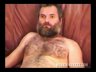 Big burly Bear of a man jacks off