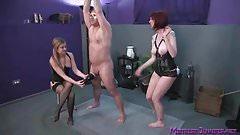 Mistresses spank male slave who loves femdom