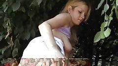 Euro exhibitionist slut flashing naked