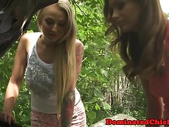 Petite euro assfucked and dominated outdoors