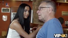 VIP4k. Grey-haired dad makes love to his sons chick