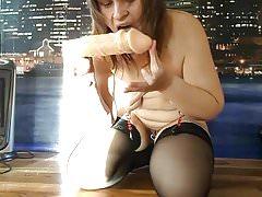 Russian mature slave Alexandra - amateur dildo anal fuck
