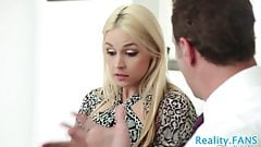 Beautiful teen banged by an older couple
