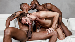 Three dudes, three dicks, one of them is a big black rod.