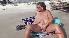 Huge tits gets a beachside visitor