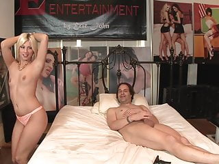 Stunning blonde with small tits rubs her cunt while riding cock
