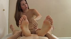 feet in face and handjob
