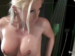 German Big Tit Teen Fuck with Two Stranger at Same Day