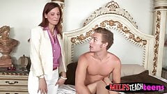 MILF has sex with stepson and his gf