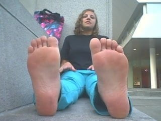 Blonde teen with smelly feet