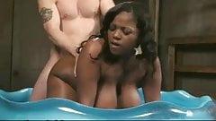 Nice ebony girl with nice tits and areolas