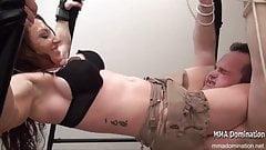 Muay Thai - Muscle Girl  Sexy Big Ass Punching Big Guy