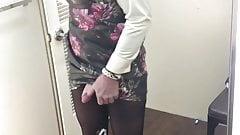 cum in a colourful leather dress