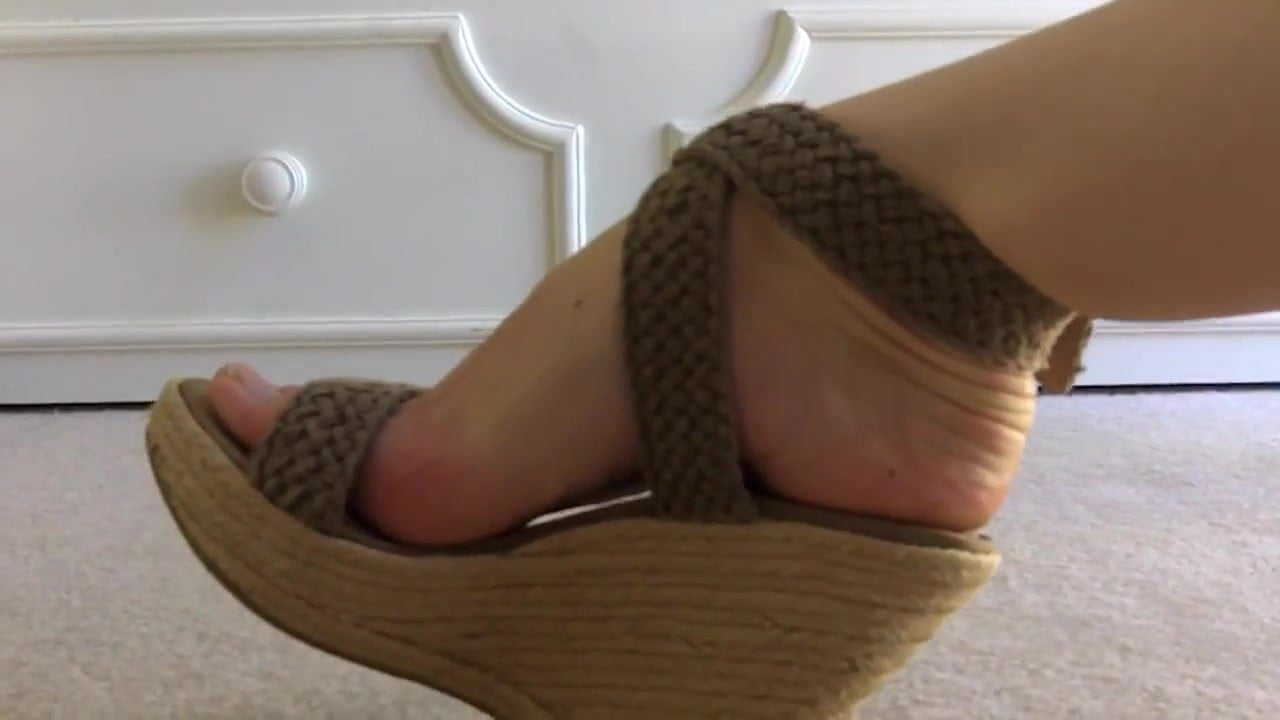 Zooming on beautiful feet in beautiful wedges— 2 pairs -.
