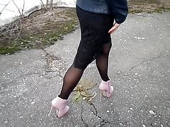 My legs in pantyhose and high heels