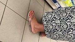 Candid arab hijab feet red pedicure close-up part 2