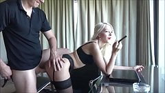 Secretary fucked by boss Horny blonde in stockings