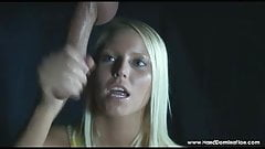 Vannesa Cage milks a big white in the gloryhole handjob