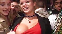 Big tits in red top.